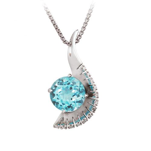 Jazzy blue topaz diamond pendant aloadofball Image collections